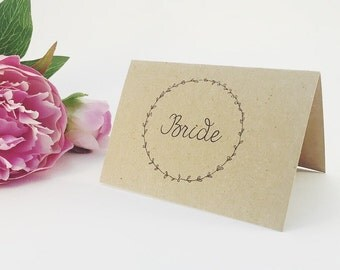 Bride and Groom Laurel Wreath Place Cards