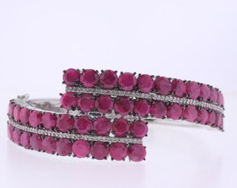 Silver Ruby and Diamond Bangle
