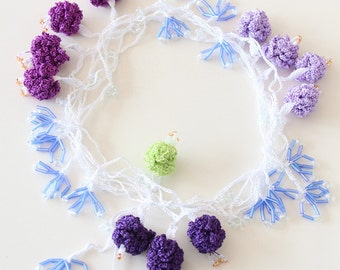Lavender crochet necklace, oya flower jewelry, purple floral choker, beded floral necklace, gift for her