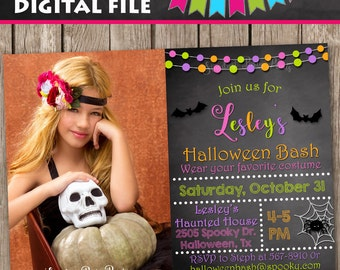 Halloween Invitation, Halloween Costume Invitation, Hallowen Party Invitation, Halloween Birthday Invitation