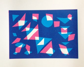 Handmade geometric screenprint
