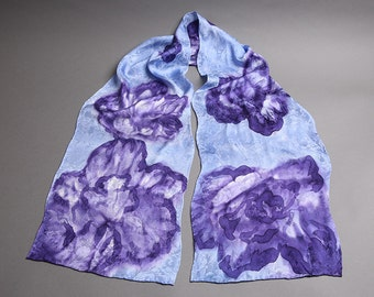 Purple Flowers Silk Scarf
