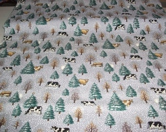 Cows and Evergreens Cotton Fabric