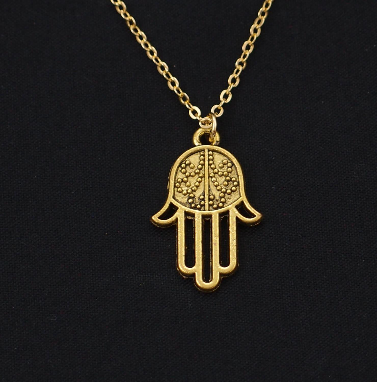 hamsa hand necklace gold hamsa charm yoga jewelry