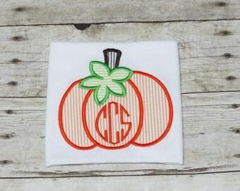Personalized Pumpkin Shirt/Bodysuit/Infant Gown/Romper with an Applique Pumpkin & Monogram - Monogrammed Pumpkin Shirt - Halloween Shirt