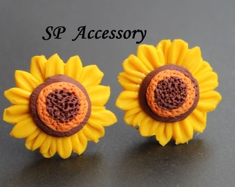 Sunflower Earrings, clay earrings, clay flower, jewelry earrings, flower earrings