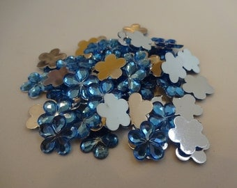 25 blue resin flowers 10 mm flatback cabochon embellishment flatback scrapbook DIY phone resin cabochon flowers
