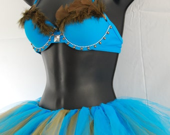 Pocahontis Feathered Rave Bra and Tutu Size SMALL