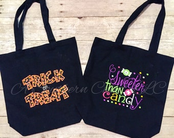 Monogrammed Halloween Trick or Treat Candy Bag - Halloween Bag - Trick or Treat - kids bag -  Monogram bag