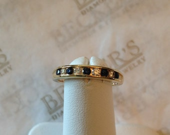 Ladies vintage 14k yellow gold Diamond and Sapphire Channel Wedding Band, .37 tw size 6