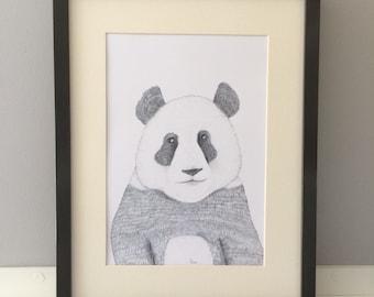 George the panda, illustration, print