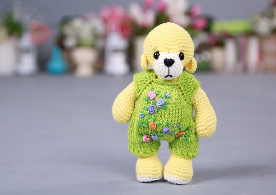 Amigurumi Wool : Knitted Teddy Bear Crochet Amigurumi Yarn Bear Artist Knit