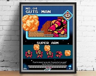 Mega Man poster, Nintendo art, video game poster, classic game print, pixel art, Guts Man, kids room poster, game room art