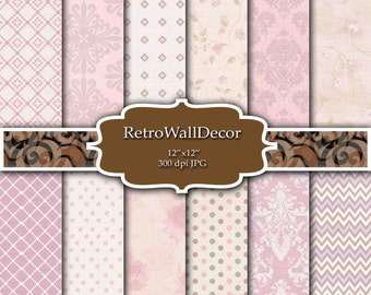 Retro digital paper: Pink Paper Polka Dots  Damask Chevron  Floral Scrapbook Decoupage Shabby Chic Damask Paper Pack 12x12 Buy 2 Get 1 FREE
