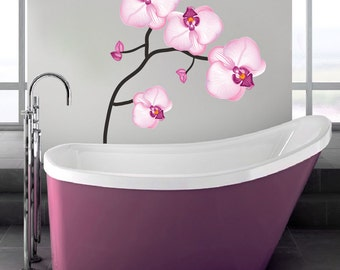 Pink Flower Wall Decal, Bathroom Flower Wall Art Mural, Flower Wall Decal Mural, Flower Wall Art Design, Flower Wallpaper for Bathrooms, a31
