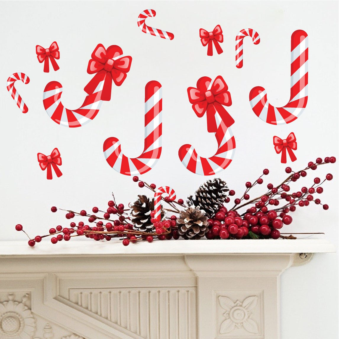 Candy cane decals christmas decals candy cane wall decals for Candy wall mural