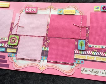 12x12 Girl Scrapbook Page Kit, Spring-Themed Premade Scrapbook Page, Girls Scrapbook Page, DIY or Premade Pages, Double Page Layout