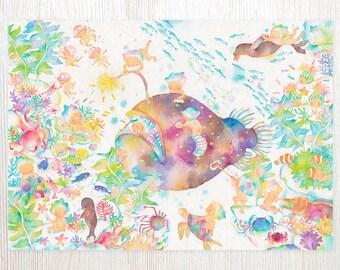 Rainbow Ocean Art Print FA4-0388