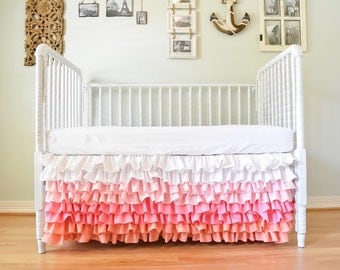 Waterfall Ruffle Crib Skirt - Custom Color, Made to fit your colors, Ombre, Gradient, Solid Color