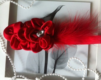 Red feathered baby headband