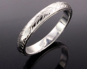 Hand engraved 18k white gold wedding band size7 3mm wide