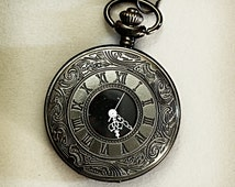 Vintage Inspired Men's Black Pocket Watch with Roman Numeral white detail and black chain clasp for Men's Waistcoat.