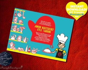 JUNIOR MASTERCHEF Birthday Party Invitation Chef Cooking Baking Theme Instant Download DIY Printable Editable Cook Bake Kid Boy Girl Idea