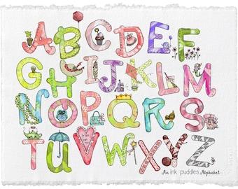 Illustrated Alphabet Print for Girls