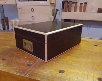 Hand crafted Spanish Cedar humidor with Wenge veneer, maple trim, and brass handles