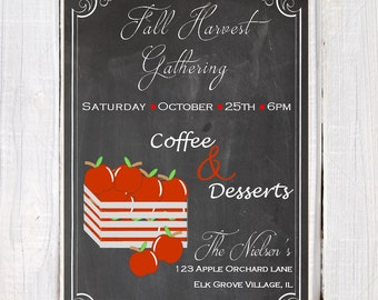 Chalkboard Fall invitation, fall gathering invites, apples invitation, fall party invitation, dessert and coffee party invitations,
