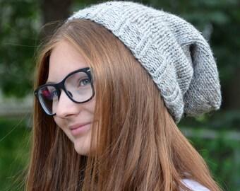 handmade slouchy knit wool or alpaca beanie hat