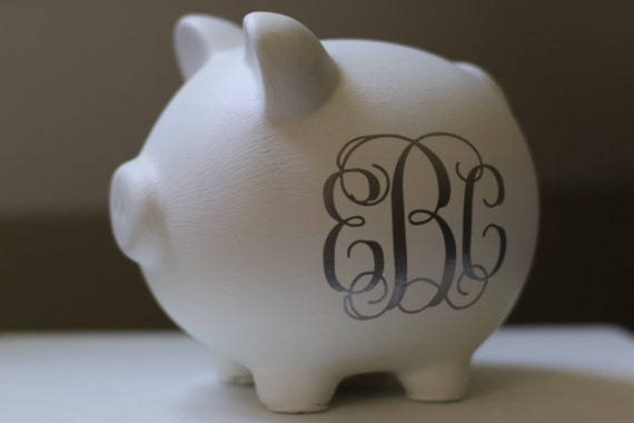Large white and silver traditional monogram personalized piggy - Engraved silver piggy bank ...