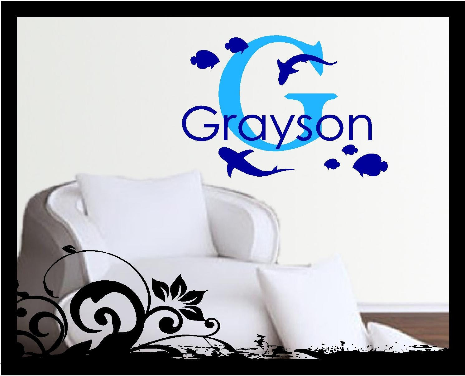 personalized sea life ocean wall decal shark fish name. Black Bedroom Furniture Sets. Home Design Ideas