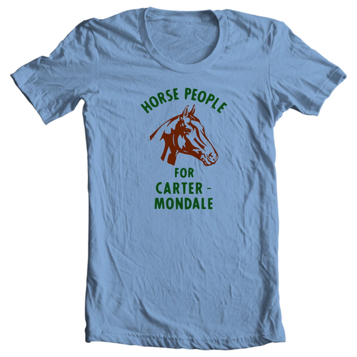 Horse People For Carter & Mondale - Jimmy Carter Presidential Campaign Button Shirt