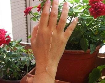 Slave Bracelet Ring, 14k Gold Fill or 925 Sterling Silver, Finger Bracelet, Swarovski Crystal, April Birthstone, Hand Chain Bracelet