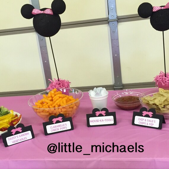 Minnie Mouse Food Cards Personalized Minnie Food By