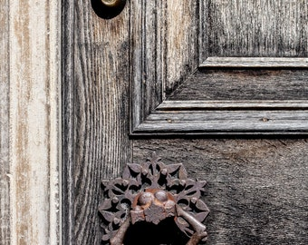 "Door Photography, Architectural Detail, Weathered wood, Rusty Hardwaredecor, Vintage, Antique, Fine Art Photography, ""Weathered Door"""