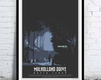 MULHOLLAND DRIVE - David Lynch - alternative movie poster / print [ Naomi Watts , Laura Harring , Justin Theroux , Ann Miller ] 2001