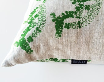 "Screen Printed ""Peti Fern Cushion"" Pillow / Cushion Cover 100% Oatmeal Linen"