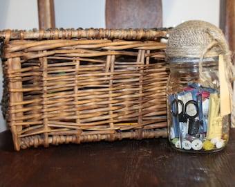 Vintage Mason Jar Sewing Kit, housewarming gift, sewing kit in a jar