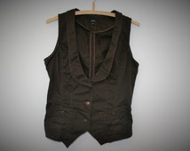 Brown Womens Vest Womens Fitted Waistcoat Hippie Boho Chic Festival Country Secretary Medium Large Size