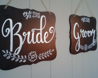Bride and Groom Signs 10''x8''