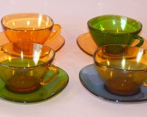 Retro Vintage 1970's Vereco France set of 4 tempered glassware cups and saucers Amber Green Blue