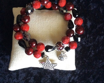 Red and black wrap bracelet