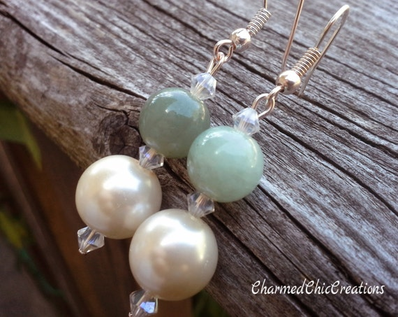 Jade, Gemstone Earrings, Peal, Bridal, Wedding, Bridesmaid, Jewelry, Semi Precious Stone, Metaphysical, Spiritual, Healing, Jewelry, Women