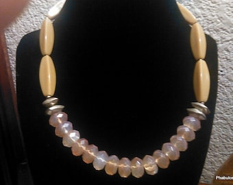 Vintage Lucite Faceted Yellow Gold Clear Beaded Choker Necklace