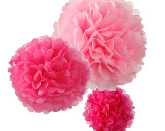 Pink Tissue Paper Pompoms |  Wedding decorations