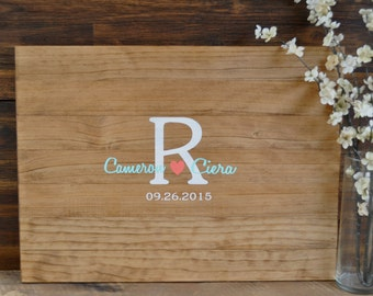Rustic Wedding Guest Book Alternative /The Original Initial & Heart Wedding Guest Book/ Rustic Wedding Decor Wedding Guest Sign In Wood