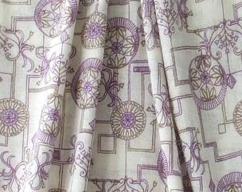 Jersey Knit Fabric, White/ Purple / Brawn Fabric, Abstract Jersey Fabric, Stretch Jersey, Fabric by the Yard