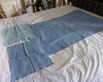 Antique French blue linen cot sheet + pillowcase set with embroidered butterflies